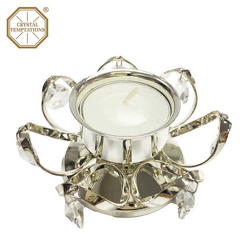 Silver Plated Tea Light Holder with Swarovski Crystal