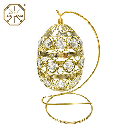 24K Gold Plated Easter Egg with Swarovski Crystal