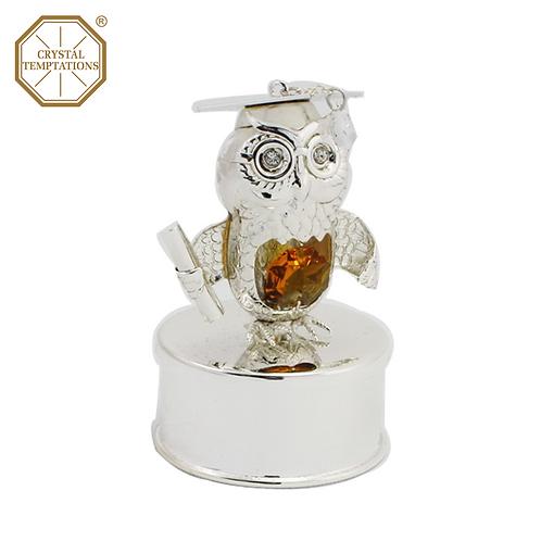 Silver Plated Graduation Owl box with Swarovski Crystal