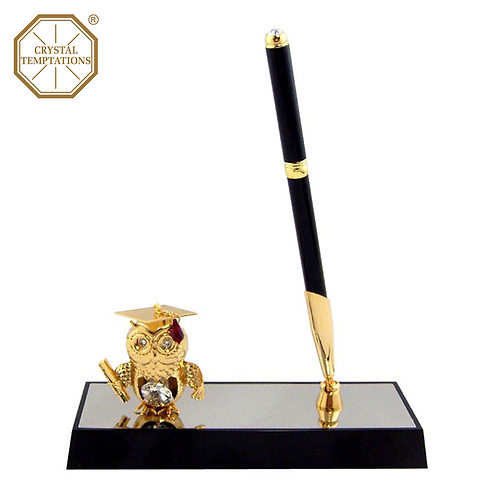 24K Gold Plated Graduation Owl with Swarovski Crystal Pen Stand