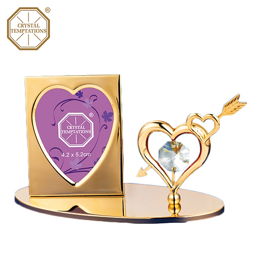 24K Gold Plated Heart Photo Frame with Swarovski Crystal