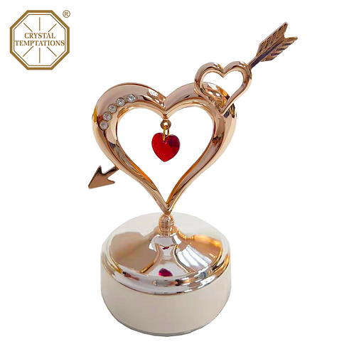 Rose Gold Plated Heart with Swarovski Crystal Music Box
