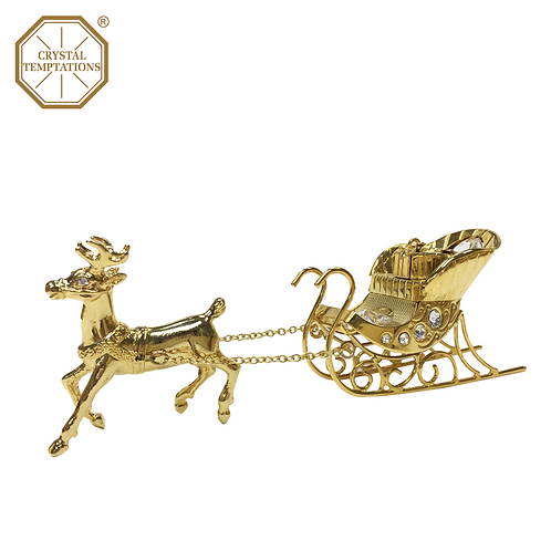 24K Gold Plated Christmas Santa's Sleigh with Swarovski Crystal