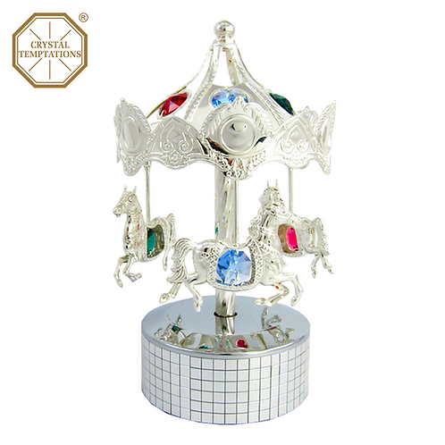 Silver Plated Carousel with Swarovski Crystal Music Box