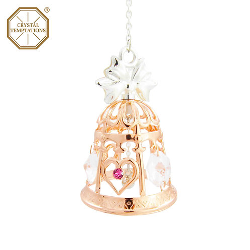 Silver & Rose Gold Plated Wedding Bell with Swarovski Crystal