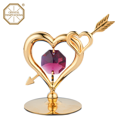 24K Gold Plated Heart with Swarovski Crystal