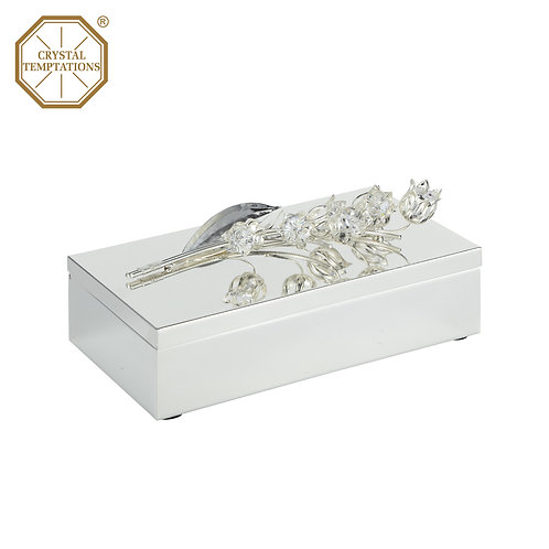 Silver Plated Jwewllery Box with Swarovski Crystal table decoration