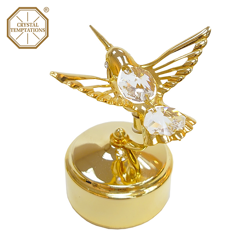 24K Gold Plated Bird with Swarovski Crystal Music Box
