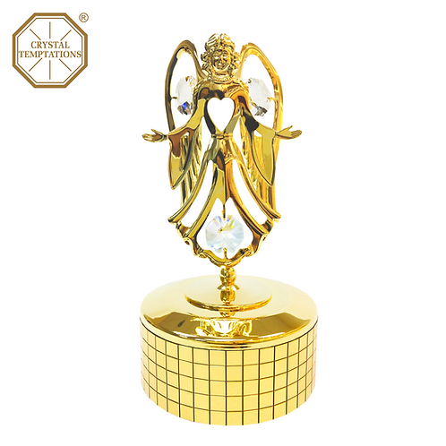 24K Gold Plated Christmas Angel with Swarovski Crystal Music Box