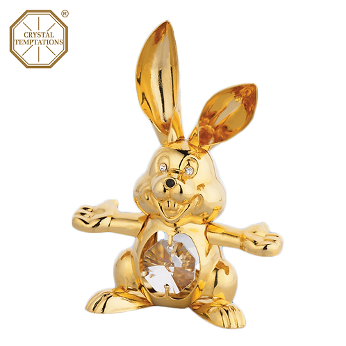 24K Gold Plated Figurine Rabbit with Swarovski Crystal