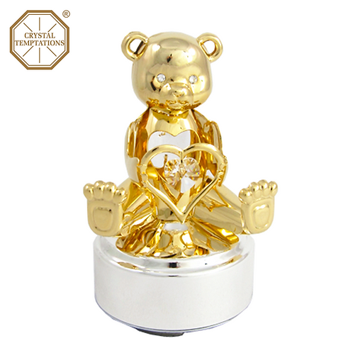 24K Gold Plated Teddy Bear with Swarovski Crystal Music Box