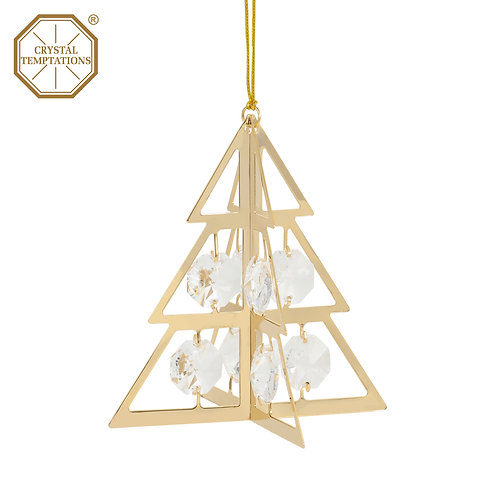 24K gold plated Christmas tree ornament with clear Swarovski crystal
