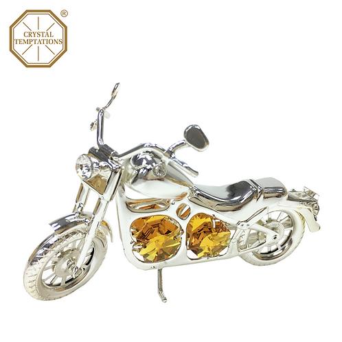 Silver Plated DecorationMotorbike with Swarovski Crystal