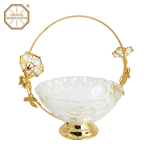 Gold Plated Glass Products Fruit Tray with Swarovski Crystal