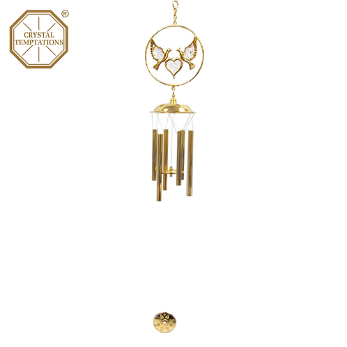 24K Gold Plated Birds with Swarovski Crystal Wind Chimes
