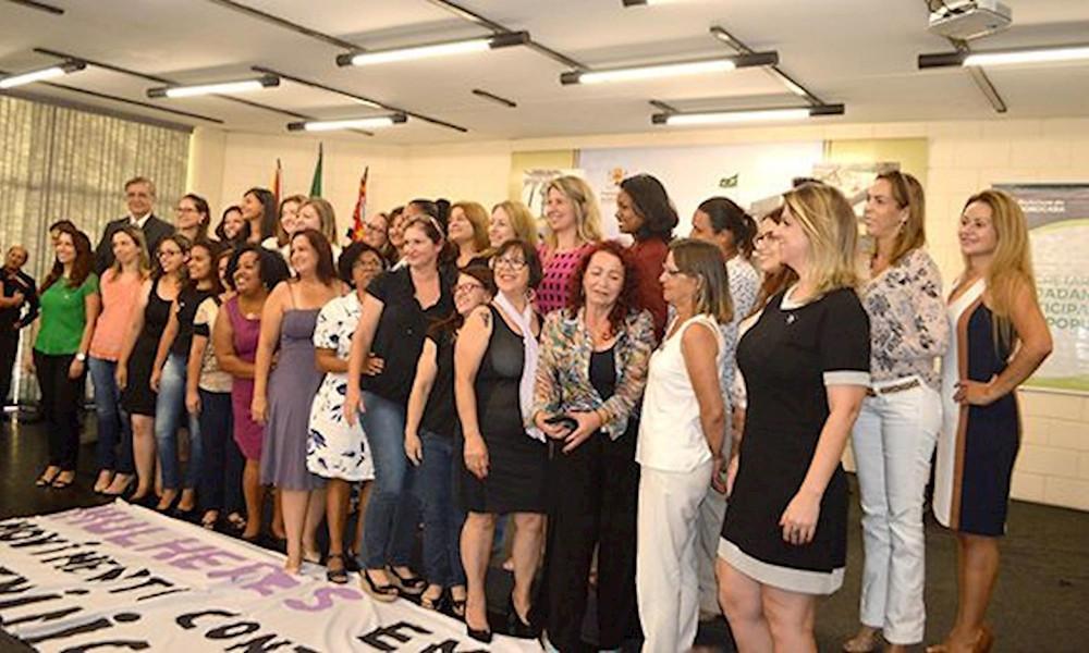 Membros do Conselho Municipal dos Direitos da Mulher (CMDM) gestão 2018/2020. Foto: Caroline Gaspari