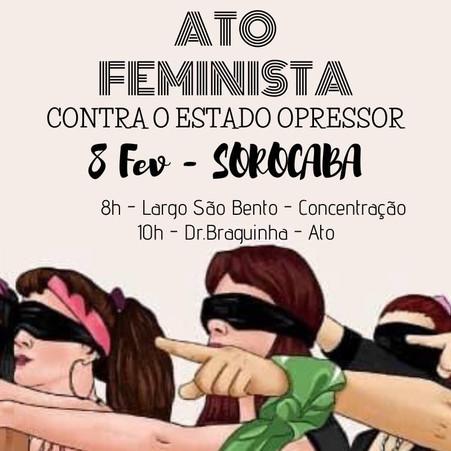 Sorocaba terá Ato feminista contra o Estado opressor
