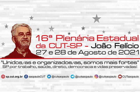 16ª Plenária Estatutária da CUT-SP será dias 27 e 28; confira a programação