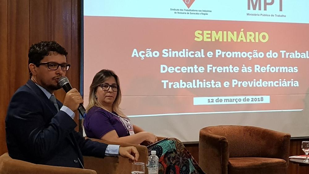O Procurador do Ministério Público do Trabalho Dr. Juliano Alexandre Ferreira também participou dos debates.