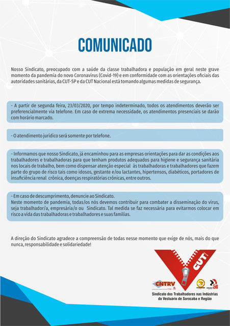 Sindicato anuncia nova forma de atendimento como forma de prevenir o contágio pelo #coronavírus