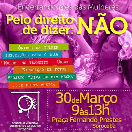 Sábado tem programação especial pelo Mês da Mulher na região central