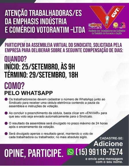 Trabalhadoras e trabalhadores da Emphasis participarão de assembleia virtual