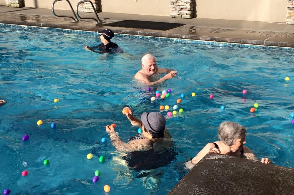 water aerobic egg hunt!