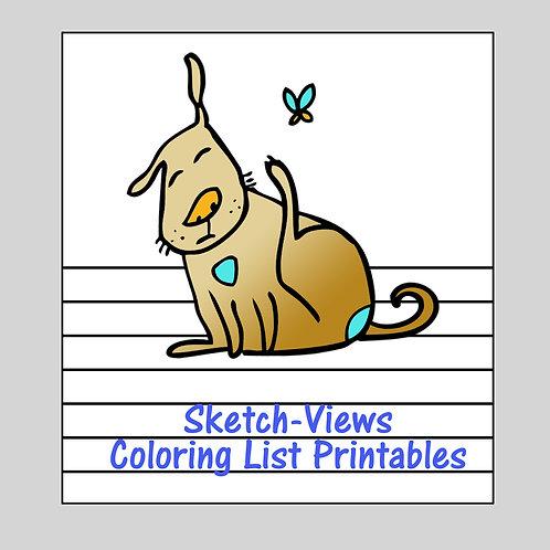 Sketch-Views Coloring List Printables