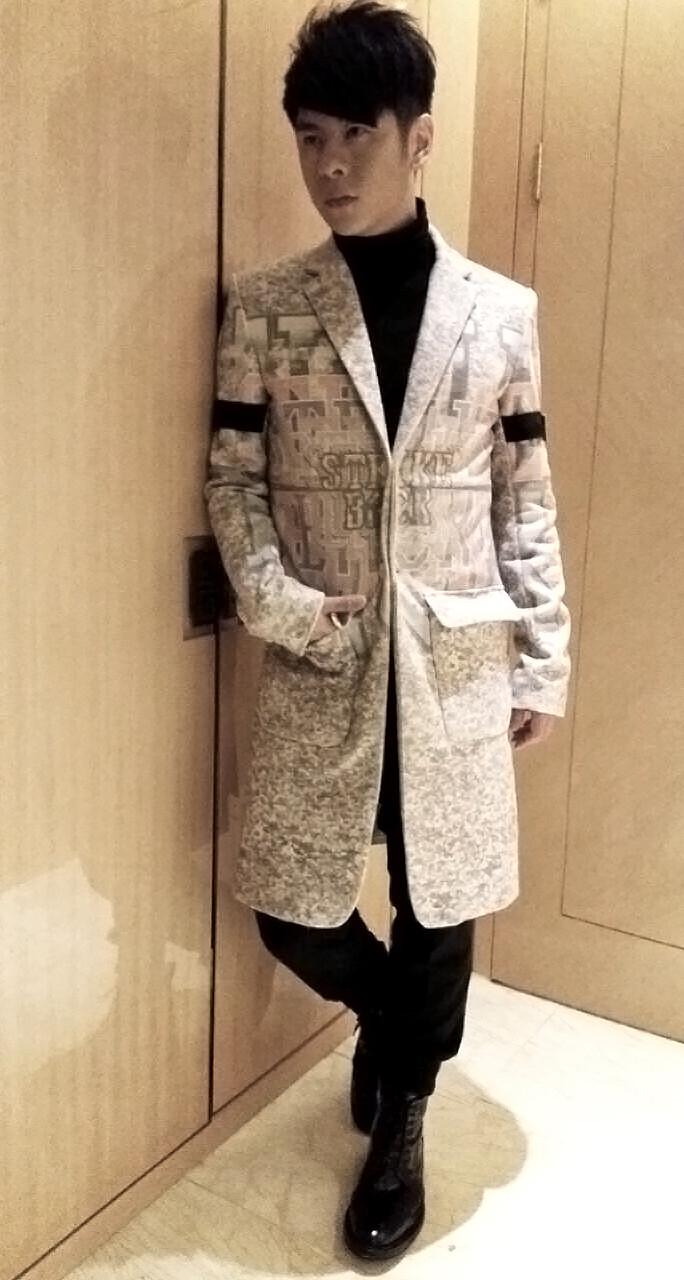 Alfred Hui on NECRO POON digital print wool blazer