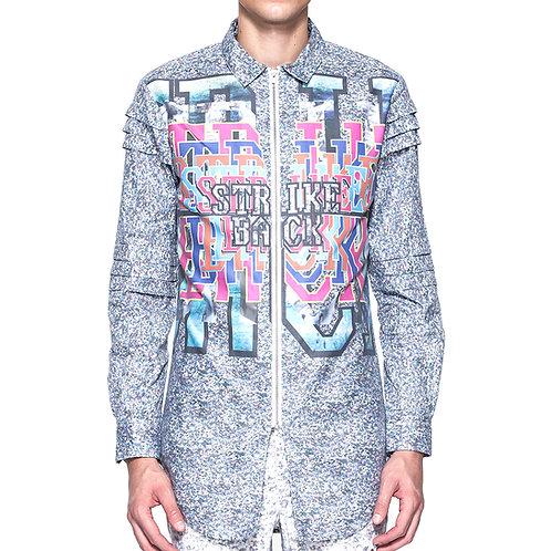 Digital print long shirt w/ zip placket