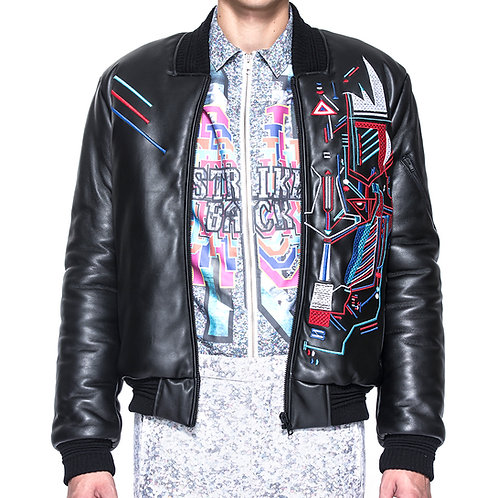Black Embroidery w/ print Nappa Bomber Jacket