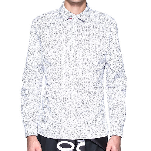 Morse code print white shirt