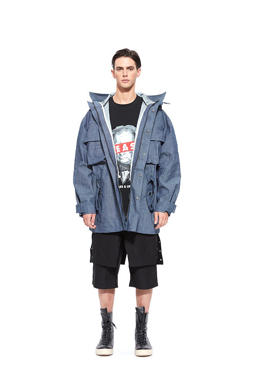 WATER-RESISTANT DENIM EMBROIDERY PARKA