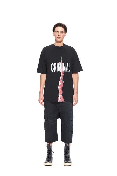"""CRIMINAL"" print embroidery tee"