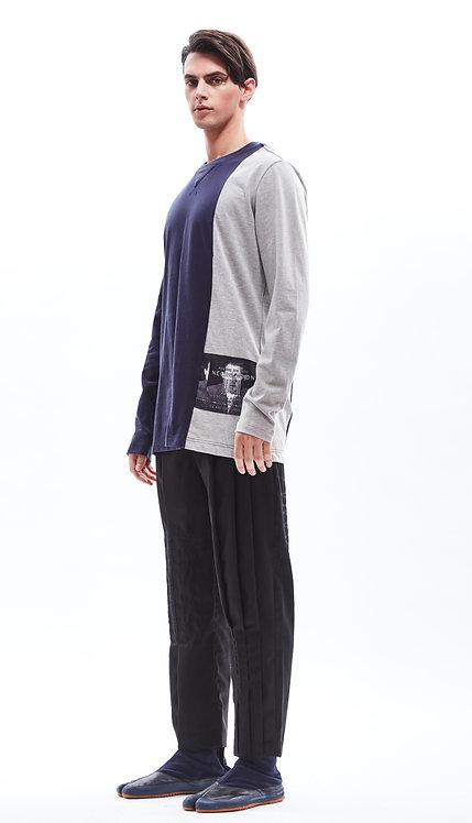 """MAN"" print colour block long sleeves cotton tee"