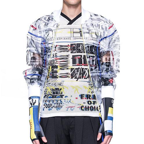 Digital print transparent bomber jacket