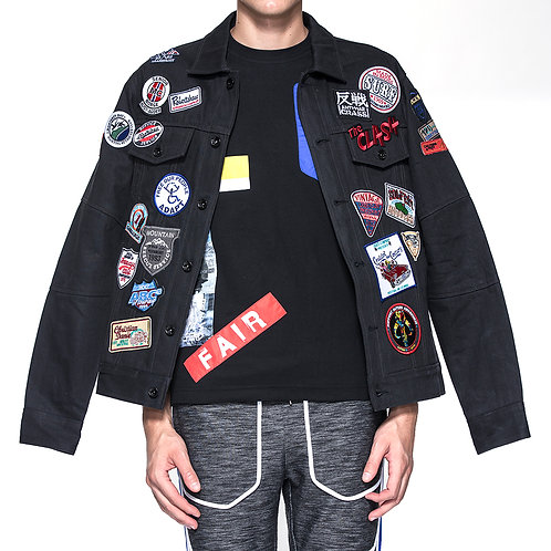 Black cotton embroidery patches denim jacket