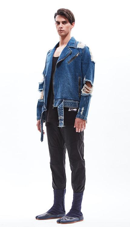 Damaged denim biker jacket