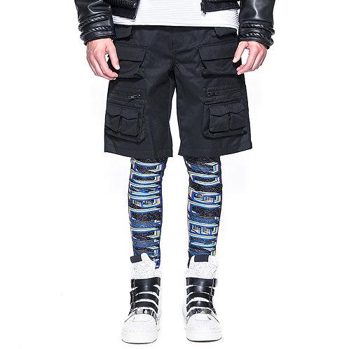 Black Wool Multi Pocket Black Shorts