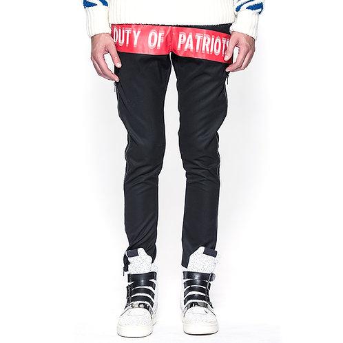 Rubber Print w/ side zipper black trousers