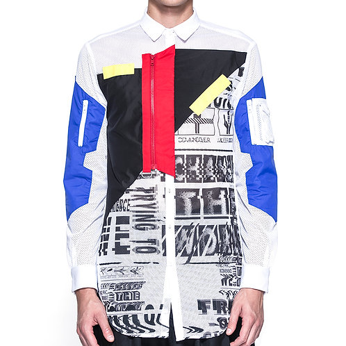 Digital Print Pointelle Sport White Long Shirt