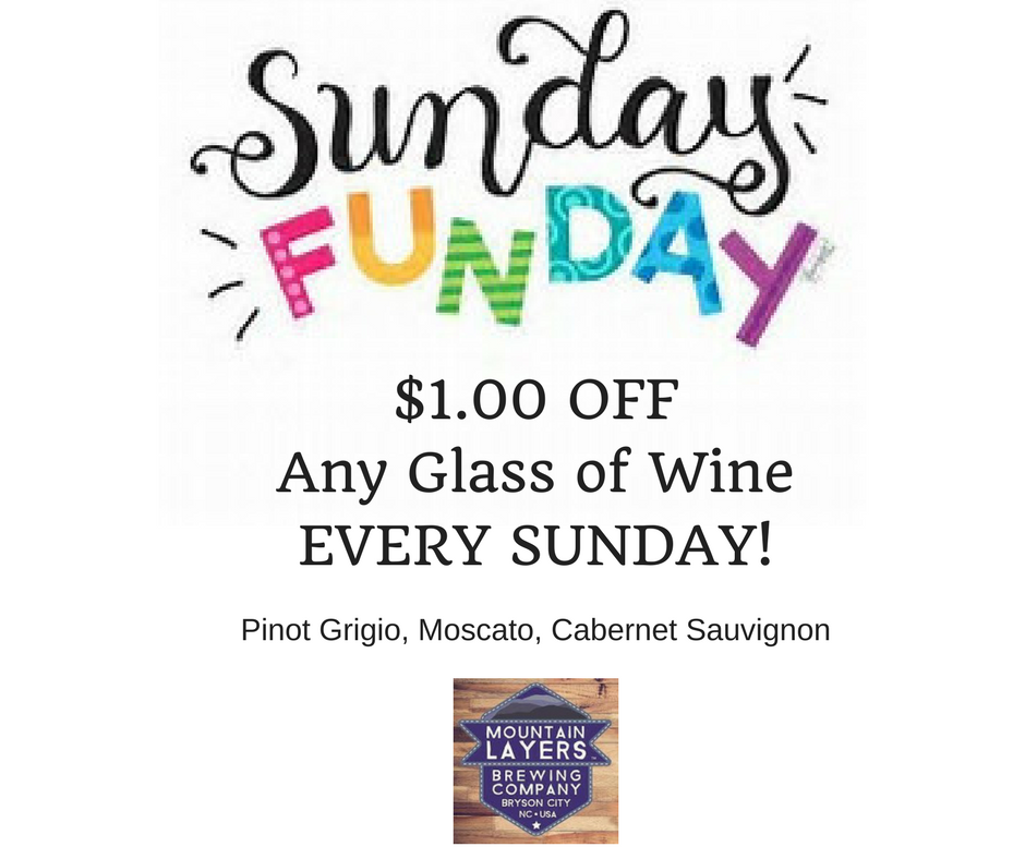 $1.00 Off Any Glass of Wine Every Sunday!
