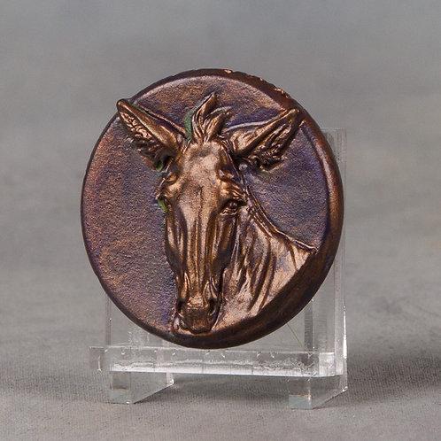 Mini Medallionopoly Mule, patinaed copper