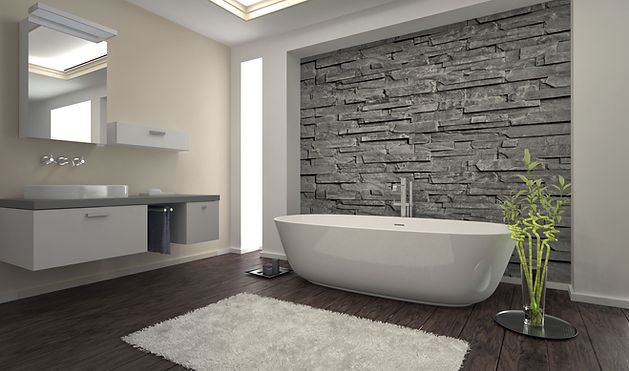 Modern design bathroom with stone wall a