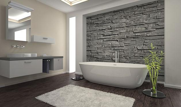 Modern design bathroom with stone wall a