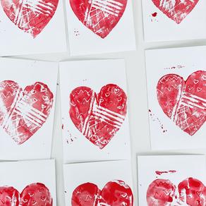 Mono Print Hearts