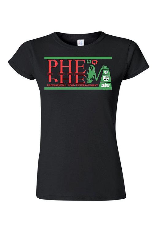 PHE Women's Crew Neck T-shirt- Red/Black/Green Logo