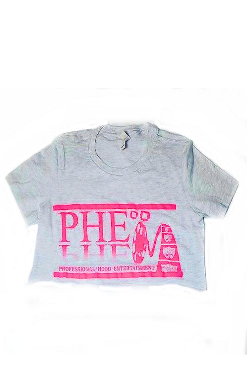 PHE Women's Crop Top Tee- Pink Logo