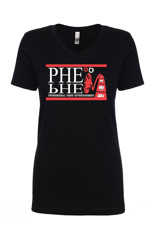 PHE Women's Vneck T-Shirt- Red/White Logo