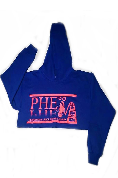 PHE Women's Crop Top Hoodie - Pink Logo